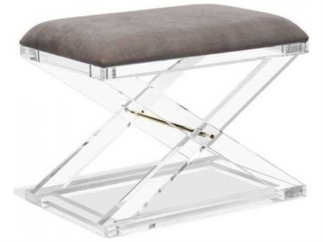 Interlude Home Clear/ Nimbus Grey/ Brass Accent Stool