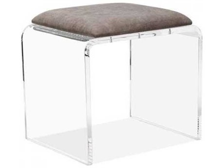 Interlude Home Clear/ Nimbus Grey Accent Stool IL179068