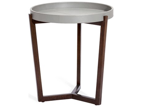 Interlude Home Ansley Distressed Glazed Grey / Walnut 22'' Wide Round End Table