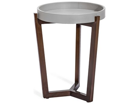 Interlude Home Ansley Distressed Glazed Grey / Walnut 16'' Wide Round End Table