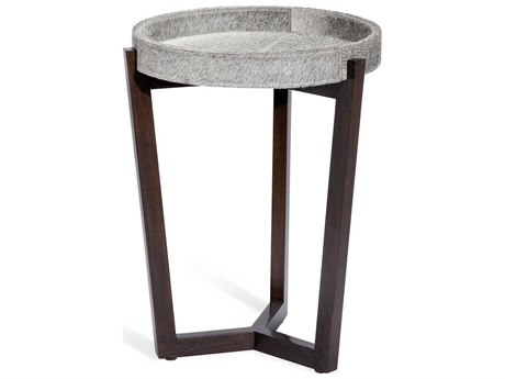 Interlude Home Ansley Natural Grey / Walnut 16'' Wide Round End Table