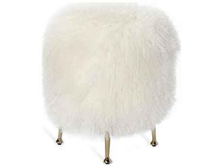 Interlude Home Antonia Ivory Sheepskin Stool