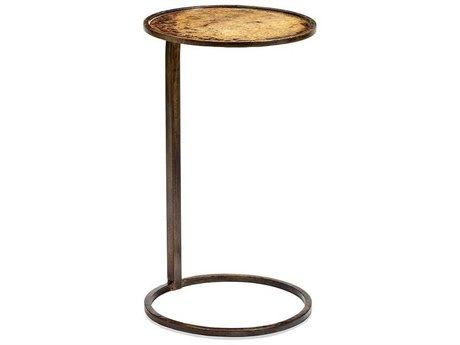 Interlude Home Austin Reactive Gold 12'' Wide Round End Table
