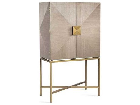 Interlude Home Latte/ Plain Mirror/ High Gloss Navy/ Antique Brass Bar Cabinet IL188106