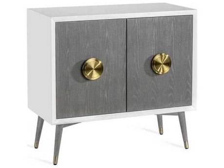 Interlude Home White Lacquer/ Grey Wash Oak/ Brushed Brass Bar Cabinet IL188107
