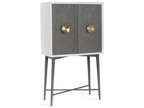 Interlude Home White Lacquer/ Grey Wash Oak/ Brushed Brass Bar Cabinet IL188108