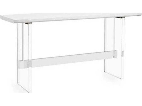 Interlude Home White Lacquer/ Clear 70'' Wide Rectangular Bar Height Dining Table IL139033