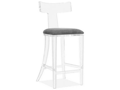 Interlude Home Clear/ Nimbus Grey Side Bar Height Stool