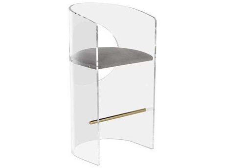 Interlude Home Nimbus Grey/ Clear/ Brushed Brass Arm Bar Height Stool