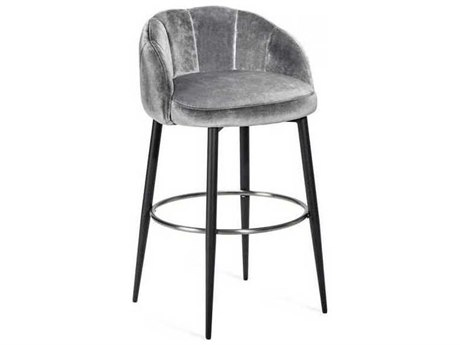 Interlude Home Graphite/ Brushed Nickel Arm Bar Height Stool
