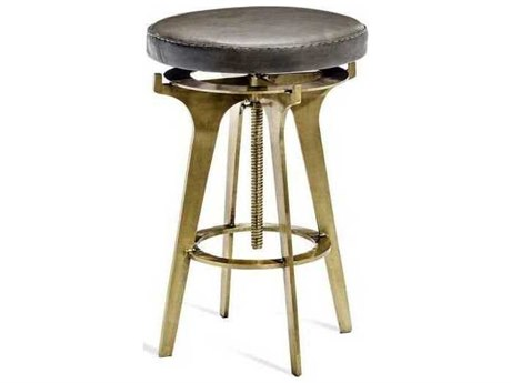 Interlude Home Antique Brass / Grey Side Adjustable Bar Height Stool IL175127