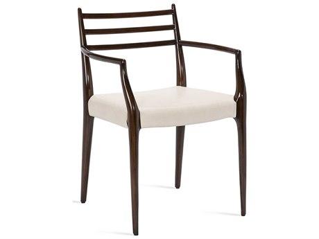 Interlude Home Beckham Walnut/Cream Dining Arm Chair