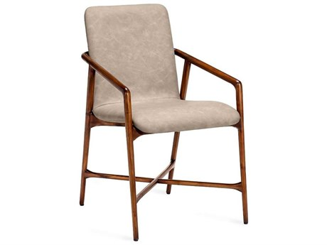 Interlude Home Benoit Light Walnut / Distressed Taupe Arm Dining Chair