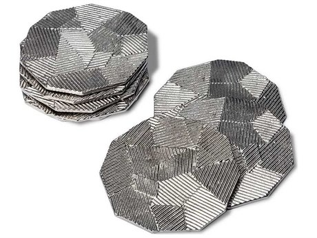 Interlude Home Carlyle Polished Nickel Coasters (Set of 8)