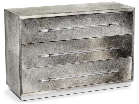 Interlude Home Cassian Natural Hide / Polished Nickel 48'' x 18'' Three Drawer Grand Chest IL188054