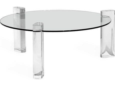 Interlude Home Channing Clear 42'' Wide Round Coffee Table