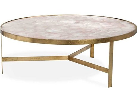 Interlude Home Ciciley Antique Gold Leaf / Blush 48'' Wide Round Coffee Table IL118114