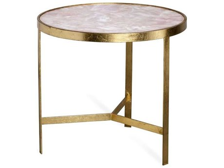 Interlude Home Ciciley Antique Gold Leaf / Blush 22'' Wide Round End Table IL128134