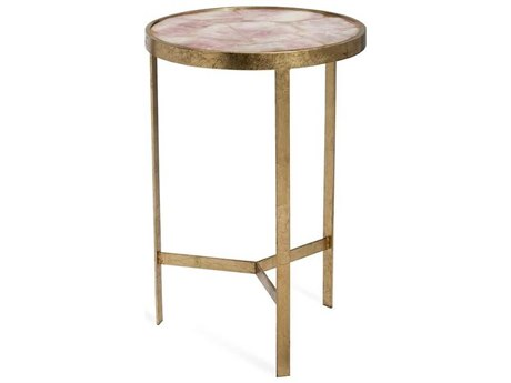 Interlude Home Ciciley Antique Gold Leaf / Blush 16'' Wide Round End Table IL128136