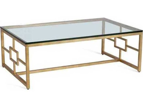 Interlude Home Antique Gold Leaf/ Clear 48'' Wide Rectangular Coffee Table