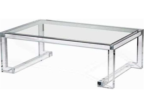 Interlude Home Clear/ Clear Glass 48'' Wide Rectangular Coffee Table
