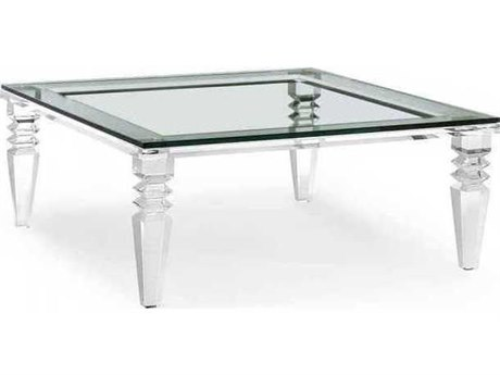 Interlude Home Clear/ Clear Glass 40'' Wide Square Coffee Table