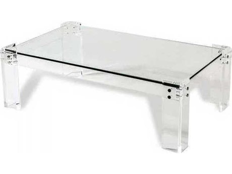 Interlude Home Clear/ Clear Glass/ Shiny Silver 52'' Wide Rectangular Coffee Table