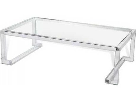 Interlude Home Clear/ Clear Glass 62'' Wide Rectangular Coffee Table