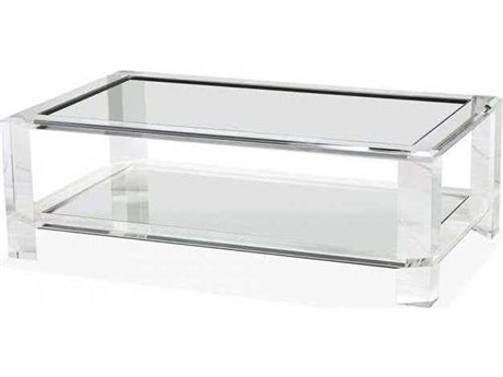 Interlude Home Clear/ Clear Glass 52'' Wide Rectangular Coffee Table IL119045