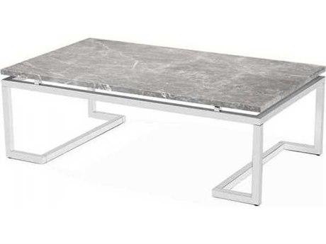 Interlude Home Polished Nickel/ Italian Grey 52'' Wide Rectangular Coffee Table IL119068