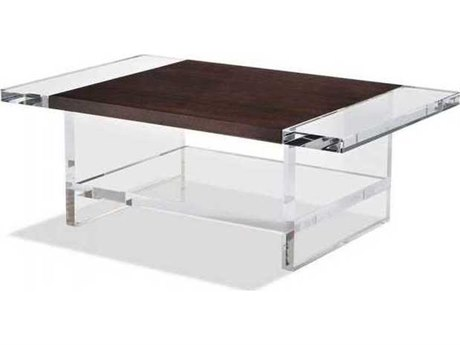 Interlude Home Clear/ Smoked Figured Eucalyptus 48'' Wide Rectangular Coffee Table IL119091