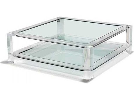 Interlude Home Clear/ Clear Glass 52'' Wide Square Coffee Table IL119093