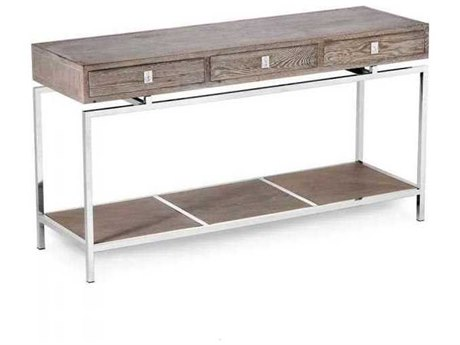 Interlude Home Polished Nickel/ Icy Grey 63'' Wide Rectangular Console Table IL138043