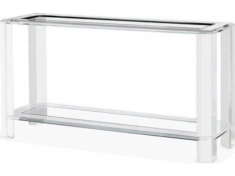 Interlude Home Clear/ Clear Glass 60'' Wide Rectangular Console Table IL138068