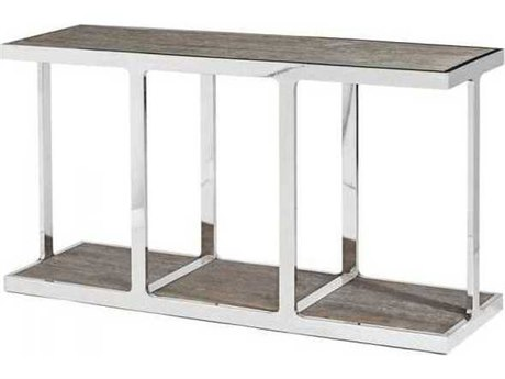 Interlude Home Polished Nickel/ Icy Grey 60'' Wide Rectangular Console Table IL138090