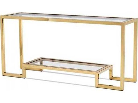 Interlude Home Brass/ Polished Nickel/ Clear 64'' Wide Rectangular Console Table IL138093