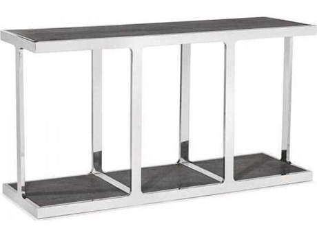 Interlude Home Charcoal Ceruse/ Polished Nickel 60'' Wide Rectangular Console Table IL139002