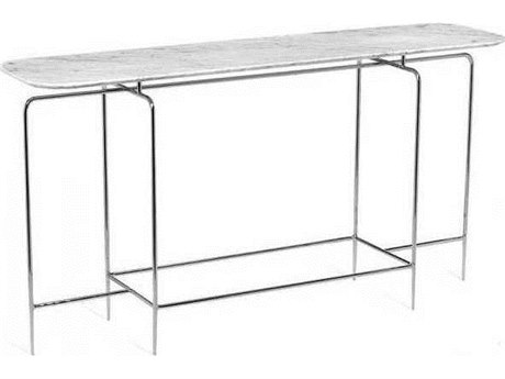Interlude Home Polished Nickel/ Carrara White 60'' Wide Rectangular Console Table