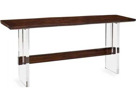 Interlude Home Walnut/ Clear 70'' Wide Rectangular Console Table