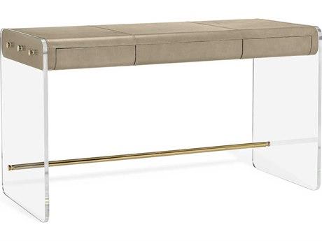 Interlude Home Cora Distressed Glazed Taupe / Clear / Polished Brass 52'' Wide Secretary Desk
