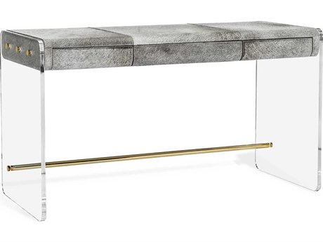 Interlude Home Cora Natural Grey / Clear Polished Brass 52'' Wide Secretary Desk