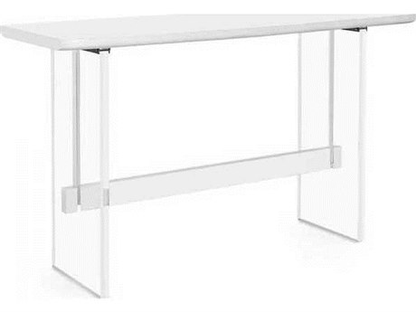Interlude Home White Lacquer/ Clear 70'' Wide Rectangular Counter Height Dining Table IL139034