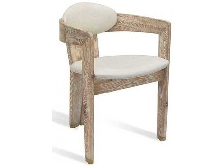 Interlude Home Whitewash Oak/ Distressed Cream/ Brushed Brass Arm Dining Chair