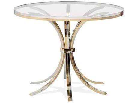 Interlude Home Silver And Brass/ Clear 40'' Wide Round Dining Table IL165096