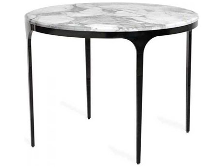Interlude Home Gunmetal/ Arabescato 40'' Wide Round Dining Table IL168006