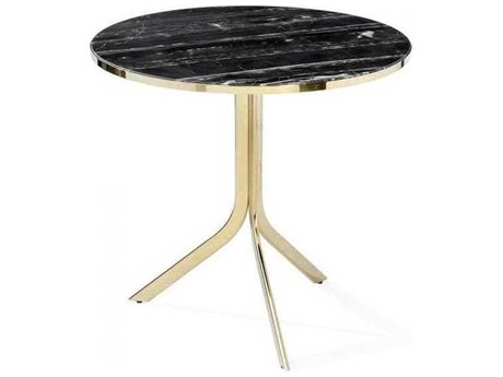 Interlude Home Polished Brass/ Nero Storm 32'' Wide Round Dining Table IL168016