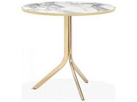 Interlude Home Polished Brass/ Arabescato 32'' Wide Round Dining Table IL168017