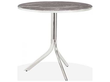 Interlude Home Polished Nickel/ Italian Grey 32'' Wide Round Dining Table IL168019