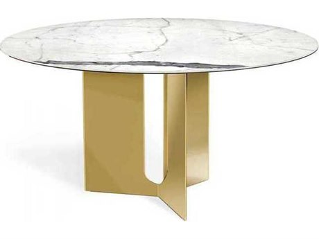 Interlude Home Statuario/ Shiny Brass 60'' Wide Round Dining Table IL168099