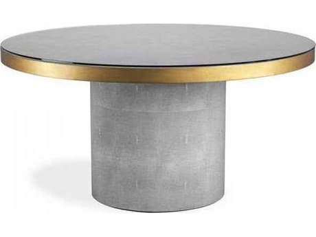 Interlude Home Light Grey/ Antique Brass/ Clear 60'' Wide Round Dining Table IL168100